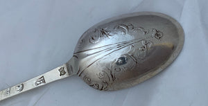 Rare English Provincial Britannia Standard Lace-Back Spoon, Exeter, 1709