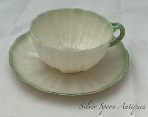 Belleek Tea Cup and Saucer, Green Shell pattern, 2nd Mark, 1891-1926