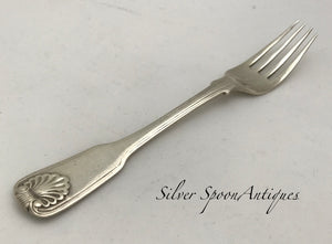 Indian Colonial Fiddle, Shell & Thread Dessert Fork, PITTAR & CO, Calcutta, 1825-48
