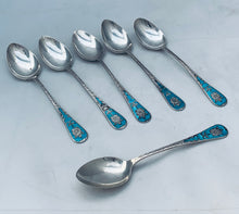 Load image into Gallery viewer, Set of six sterling and enamel coffee spoons, Birmingham 1910