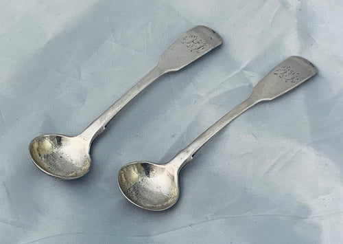 Pair of Rare Early Australian Salt Spoons, Felix LYNN, Sydney, 1830s
