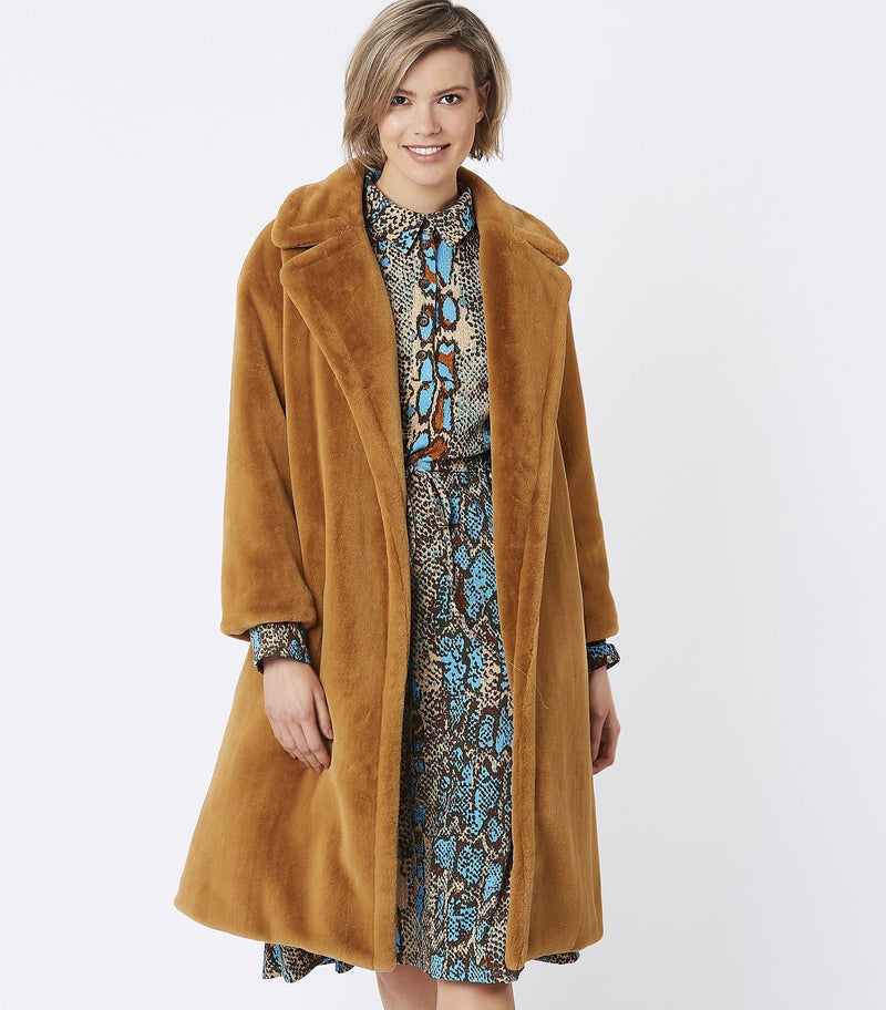 *NEW IN* LUXURY FAUX FUR MIDI SHAVED SHEARLING COAT