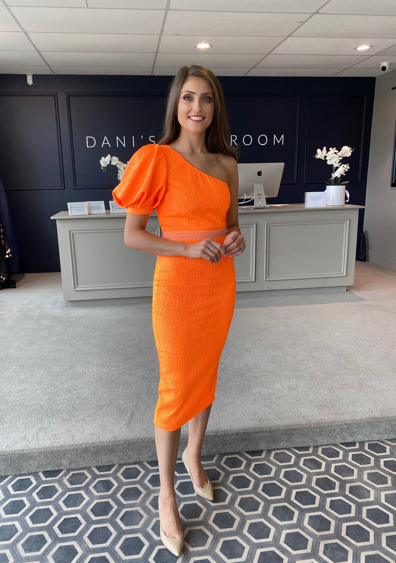 ORANGE PUFF SLEEVE ONE SHOULDER