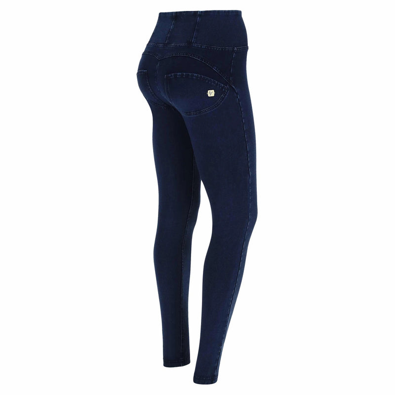DARK DENIM BLUE STITCH SELF TONE ZIP HIGH WAIST FREDDY JEANS