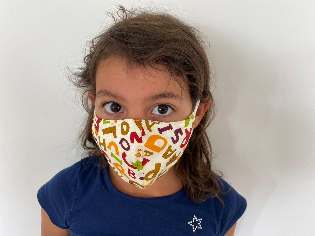 Kids Washable Face Barrier Mask multi colour letters (NEW Unisex Product)