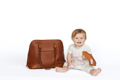 Amelie Leather Diaper Bag in Black and Gold