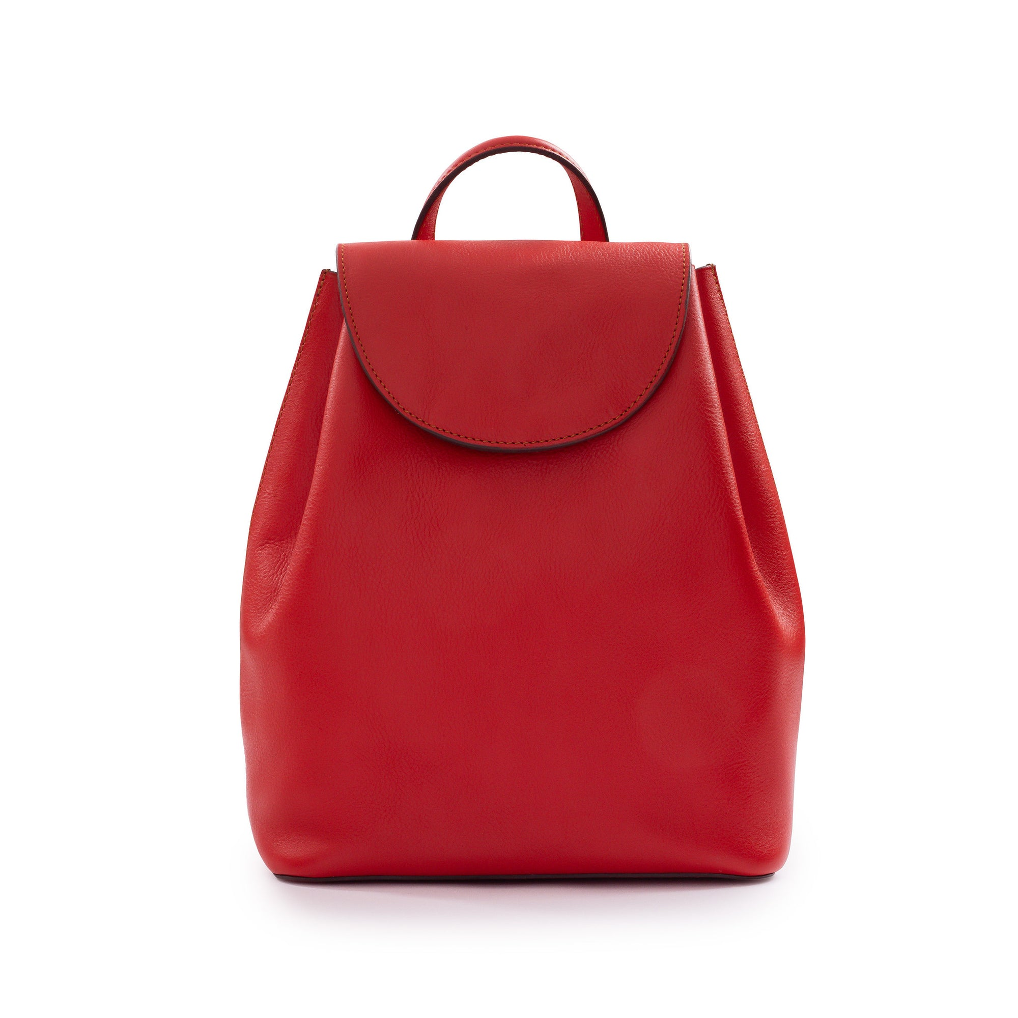 Belle Leather Backpack in Red