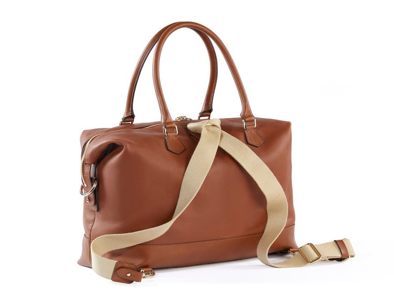 Collette Leather Diaper Bag and Backpack in Caramel