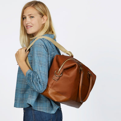Collette Leather Diaper Bag and Backpack in Copper
