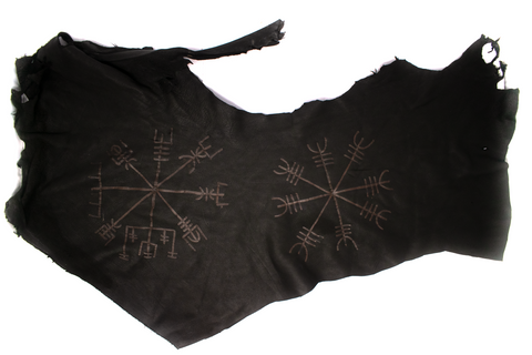 Deer hide altar cloth - Ægishjálmr & Vegvisir - Oreamnos Oddities