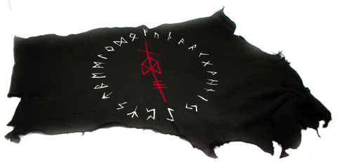 Image of Deer hide altar cloth - ODIN bindrune & runic circle