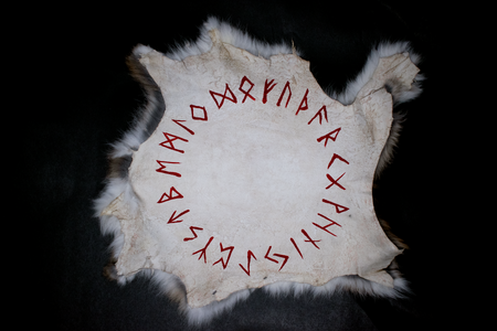 Runic circle - rabbit hide altar cloth - Oreamnos Oddities