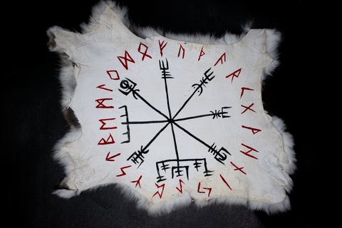 Vegvisir & runic circle - rabbit hide altar cloth - Oreamnos Oddities