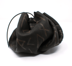 Deluxe ebony rune set - deer hide pouch