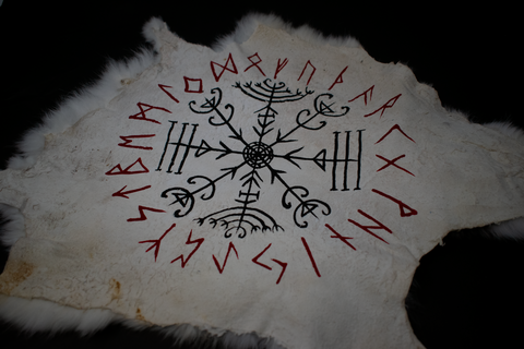 Veldismagn  & runic circle - rabbit hide altar cloth