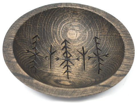 Image of rune offering bowl, viking offering bowl, norse offering bowl, pagan offering bowl, heathen offering bowl, witch offering bowl, runic offering bowl, bindrune offering bowl