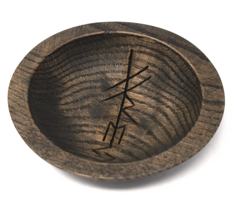 Image of rune offering bowl, viking offering bowl, norse offering bowl, pagan offering bowl, heathen offering bowl, witch offering bowl, runic offering bowl, bindrune offering bowl, freya offering bowl, norse god offering bowl
