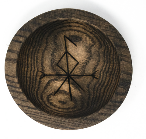 Image of rune offering bowl, viking offering bowl, norse offering bowl, pagan offering bowl, heathen offering bowl, witch offering bowl, runic offering bowl, bindrune offering bowl, loki offering bowl, norse god offering bowl
