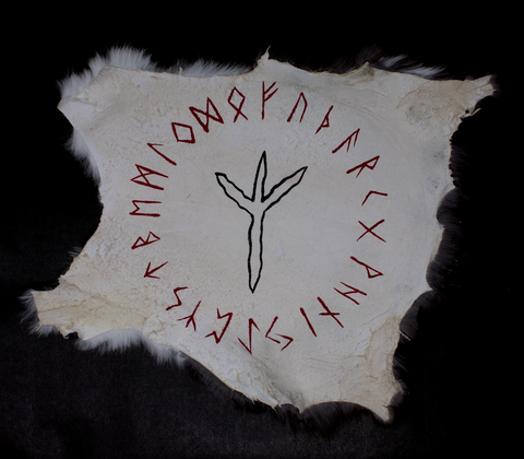 Image of pagan altar cloth, witch altar cloth, rune altar cloth, viking altar cloth, witchy altar cloth, norse altar cloth, nordic altar cloth