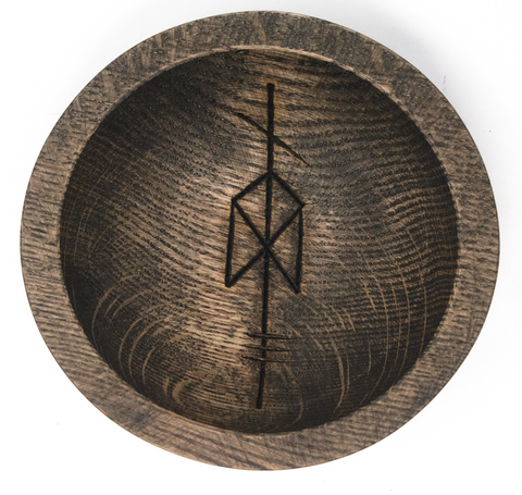 Image of rune offering bowl, viking offering bowl, norse offering bowl, pagan offering bowl, heathen offering bowl, witch offering bowl, runic offering bowl, bindrune offering bowl, odin offering bowl, norse god offering bowl