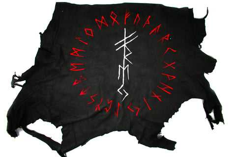 Deer hide altar cloth - FREYA bindrune & runic circle