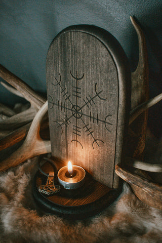 pagan altar, witch altar, rune altar, heathen altar, viking altar, nordic altar, helm of awe