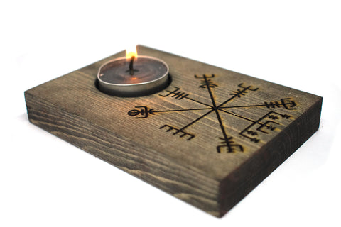 pagan candle holder, viking candle holder, vegvisir candle holder, vegvisir candle, norse candle holder