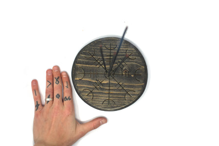 pagan incense dish, helm of awe, norse incense dish, wooden incense dish, witchy incense dish, viking incense dish