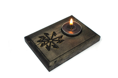 Connection to the gods stave tealight candle holder