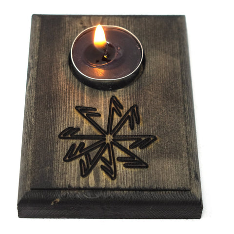 Image of Connection to the gods stave tealight candle holder