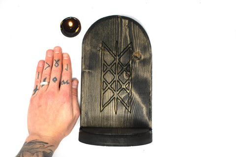 pagan altar, witchy altar, norse altar, viking altar, nordic altar, wooden altar