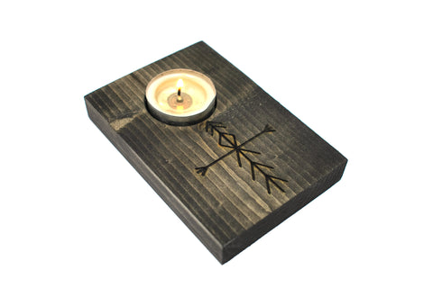 Home protection bindrune tealight candle holder