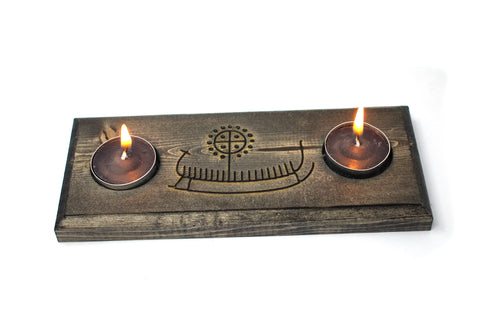 viking ship petroglyph tealight candle holder