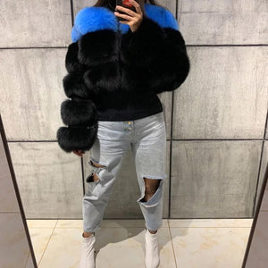 Two Tone Fox Fur Crop Bomber