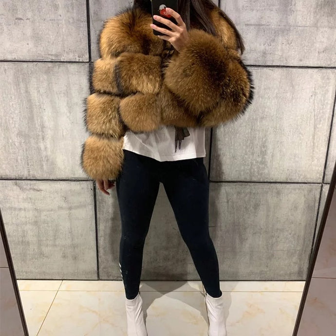 3 Row Natural Raccoon Fur Bomber