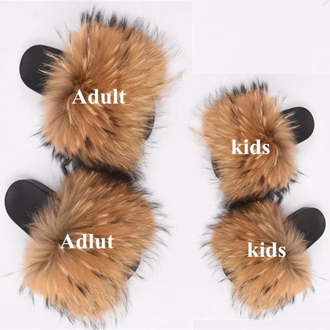 KIDS Natural Raccoon Fur Slides