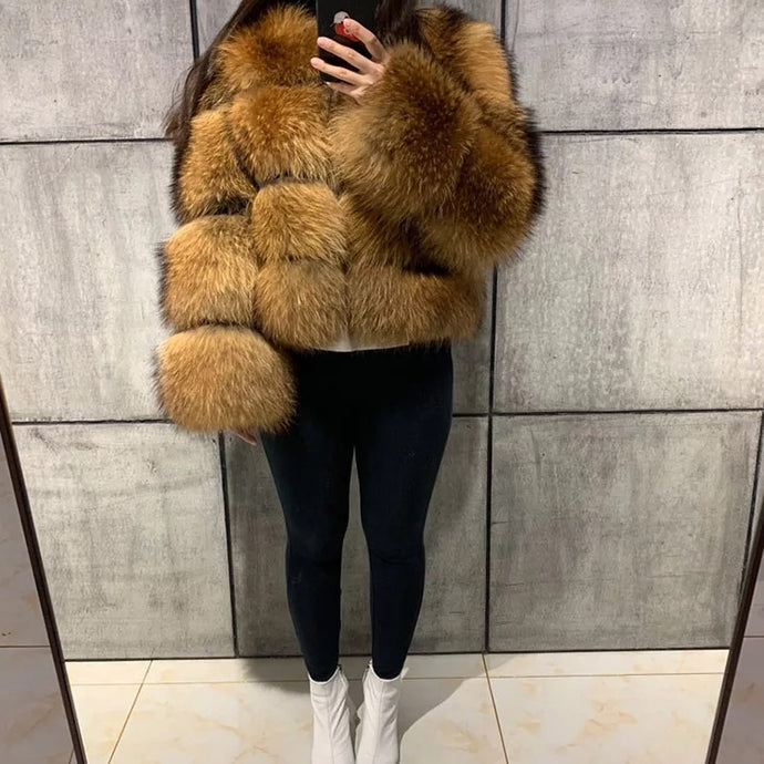 4 Row Natural Raccoon Fur Bomber