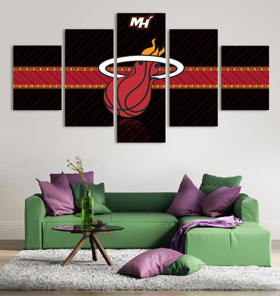 Miami Heat Wall Art Canvas Painting Poster 5 Piece Framed NBA Home Decor.