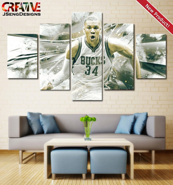 Giannis Antetokounmpo Wall Art Painting On Canvas Poster Home Decor Print HD.