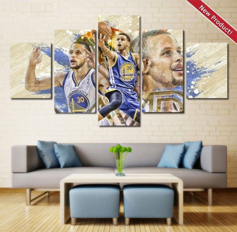 Stephen Curry Wall Art Canvas Painting Poster 5 Piece Framed
