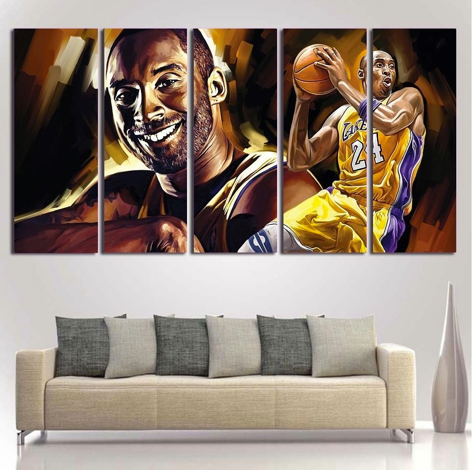 Kobe Bryant Painting Basketball Poster Canvas Printed Wall Decor.