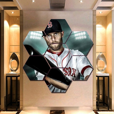 Dustin Pedroia Wall Art | Canvas Framed Painting | Boston Red Sox