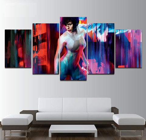 Ghost in the Shell Wall Art | Canvas Painting Framed | 5 piece