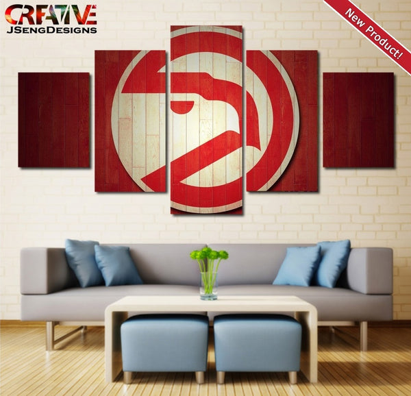 Hawks Wall Art Canvas Painting Picture Poster HD Framed 5 Piece Atlanta Hawks