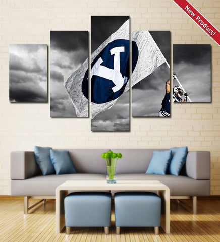 BYU Cougars Football Wall Art | Canvas Painting Framed | NCAA Football
