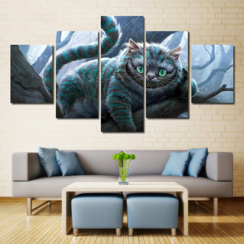 Alice in Wonderland Cheshire Cat Wall Art | Canvas Painting Framed