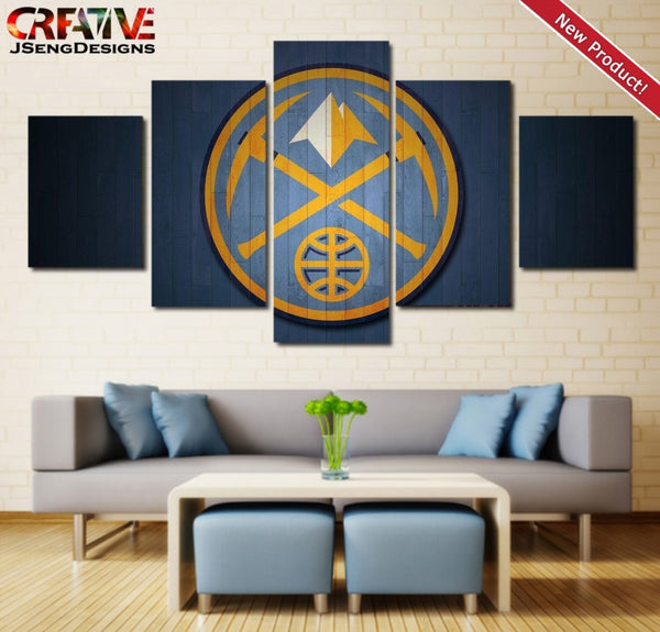 Denver Nuggets Painting Poster 5 Piece Wall Art Canvas Framed NBA Home Decor.