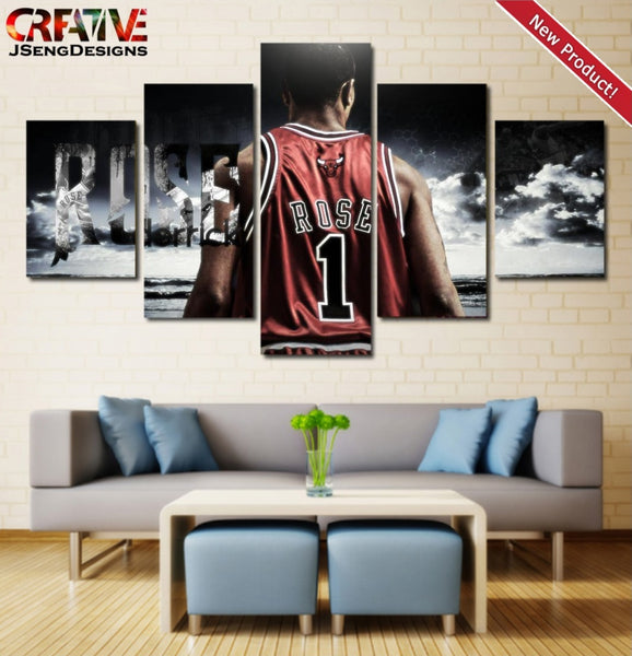 Derrick Rose wall art Chicago Bulls Painting Print Poster HD Framed NBA Canvas.