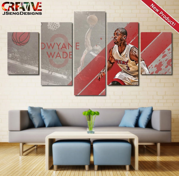 Dwyane Wade Wall Art Painting Canvas Heat Poster Home Decor Print HD 5 Piece.