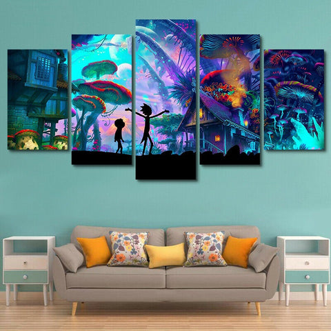Rick And Morty Painting Poster Framed | Canvas Home Decor